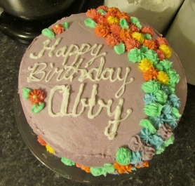 This cake was for Abby's 4th party, her gymnastics party.