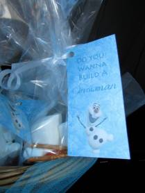 Party favors: build snowmen with marshmallows, pretzel sticks, mini chocolate chips, and orange candy.