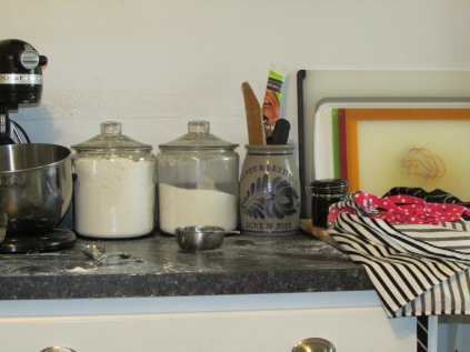 Counter of pie-making messiness!