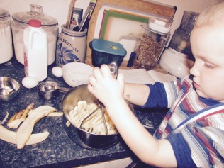 Mash those bananas, Noah!