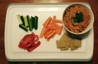 Snack time! BBQ chicken dip with veggies and the crackers are for Randy. ;)